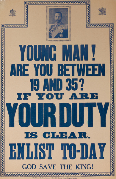 Young Man! Are You Between 19 and 35? Original WWI Bahamian Recruiting Poster