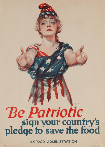 Be Patriotic Save Food Original American WWI Home Front Poster