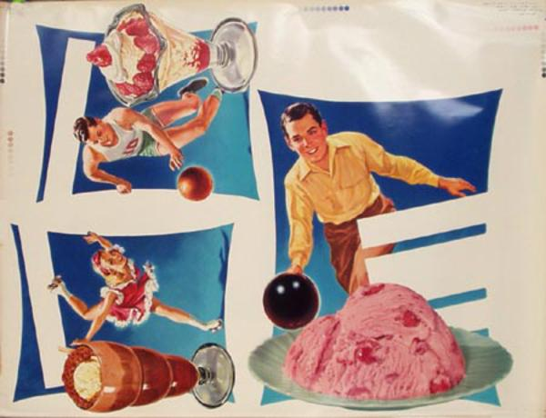 Original Vintage Advertising Poster Sports and Ice Cream
