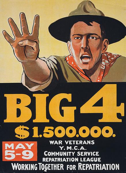Big 4 Original Canadian WWI Rundraiser Poster, Soldier