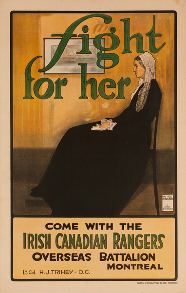 Fight For Her Original WWI Irish Canadian Rangers Recruiting Poster