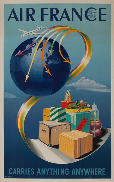 Air France Carries Anything Anywhere Original Air Cargo Poster