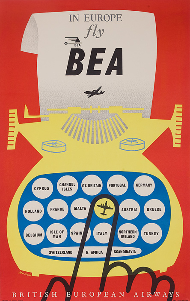 In Europe Fly BEA Original Airline Travel Poster