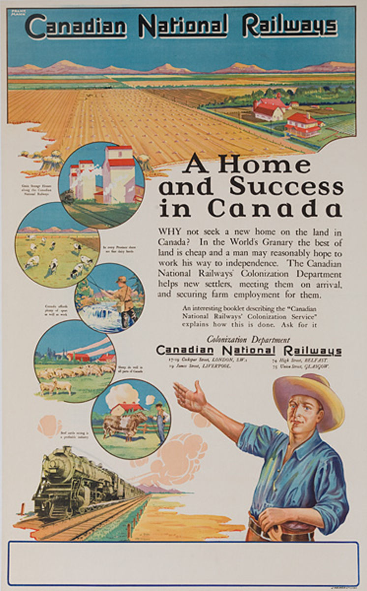 Canadian National Railways Original Travel Poster A Home and Success in Canada