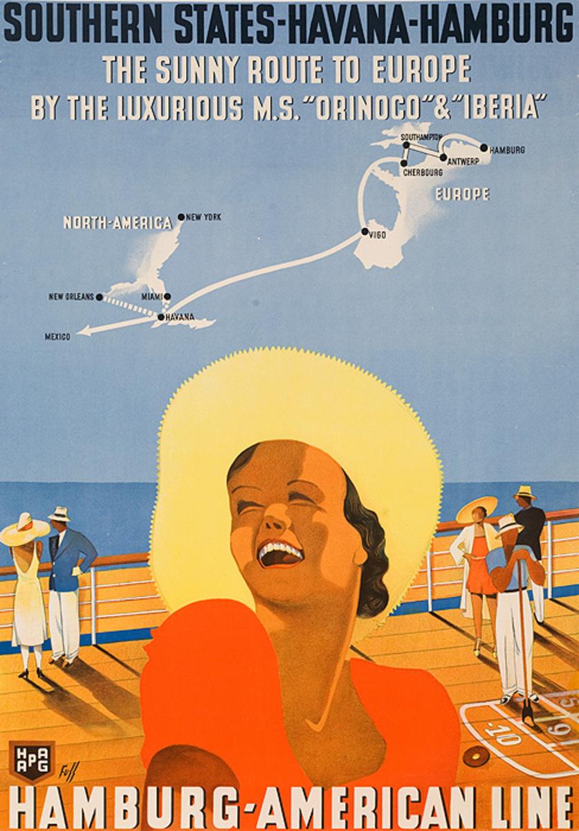 Southern States Havana Hamburg Original Hamburg America Line Travel Poster