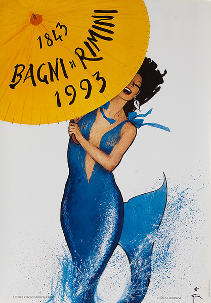 Original 150th Anniversary Rimini Italy Travel Poster Mermaid