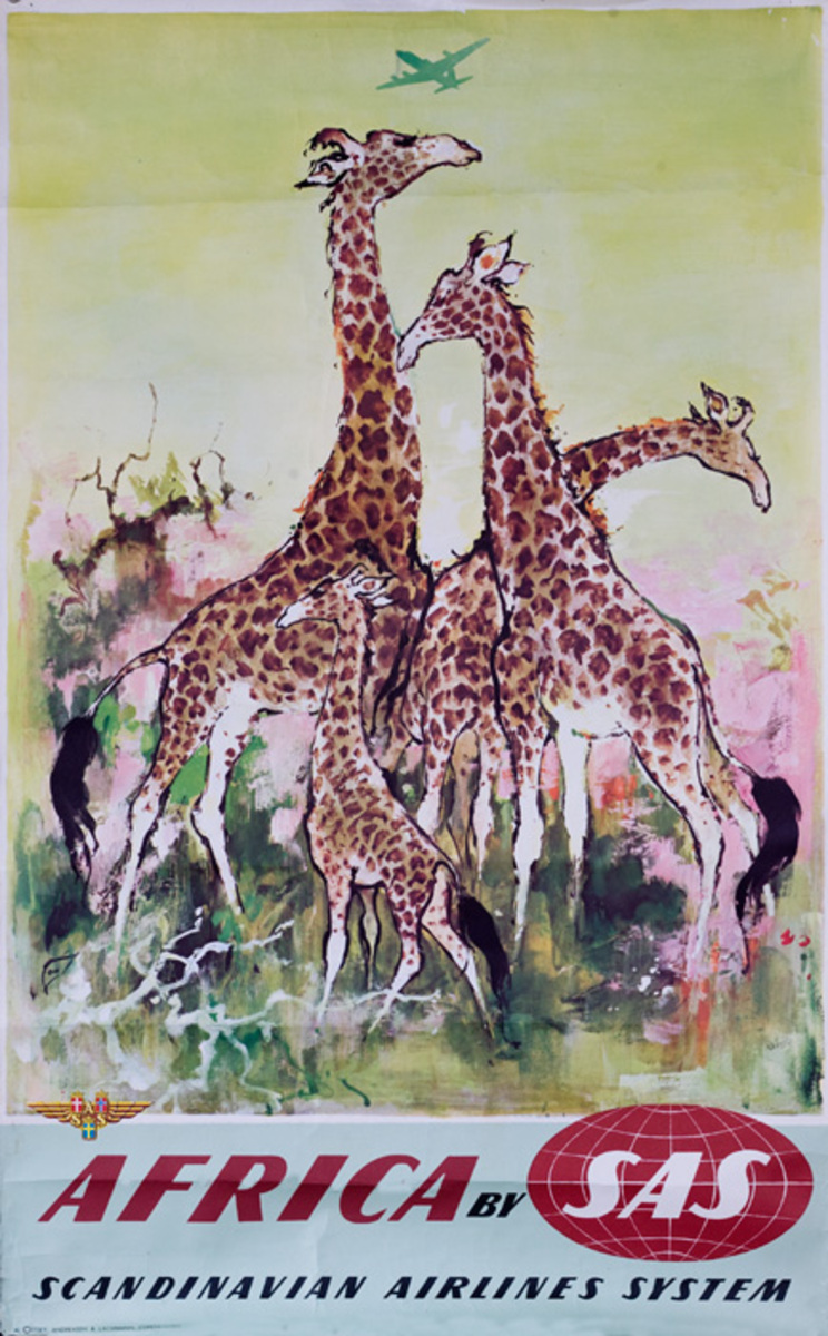 Africa By SAS Scandinavian Airlines Systems Original Travel Poster Giraffe