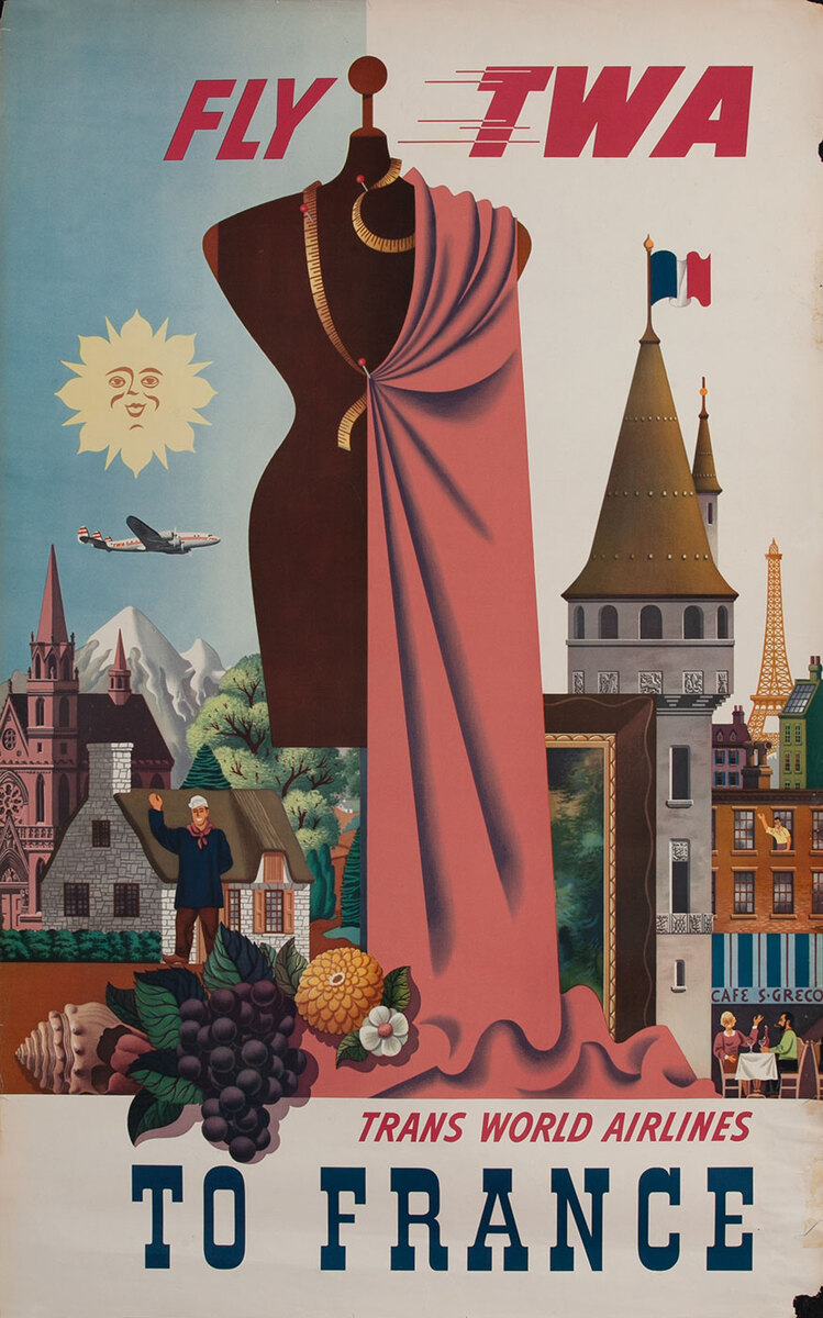 Fly TWA France Original Travel Poster Couture