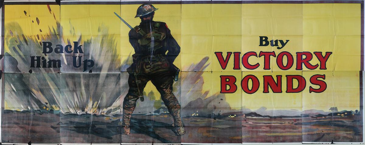 Back Him Up Buy Victory Bonds Original Canadian WWI Billboard Poster