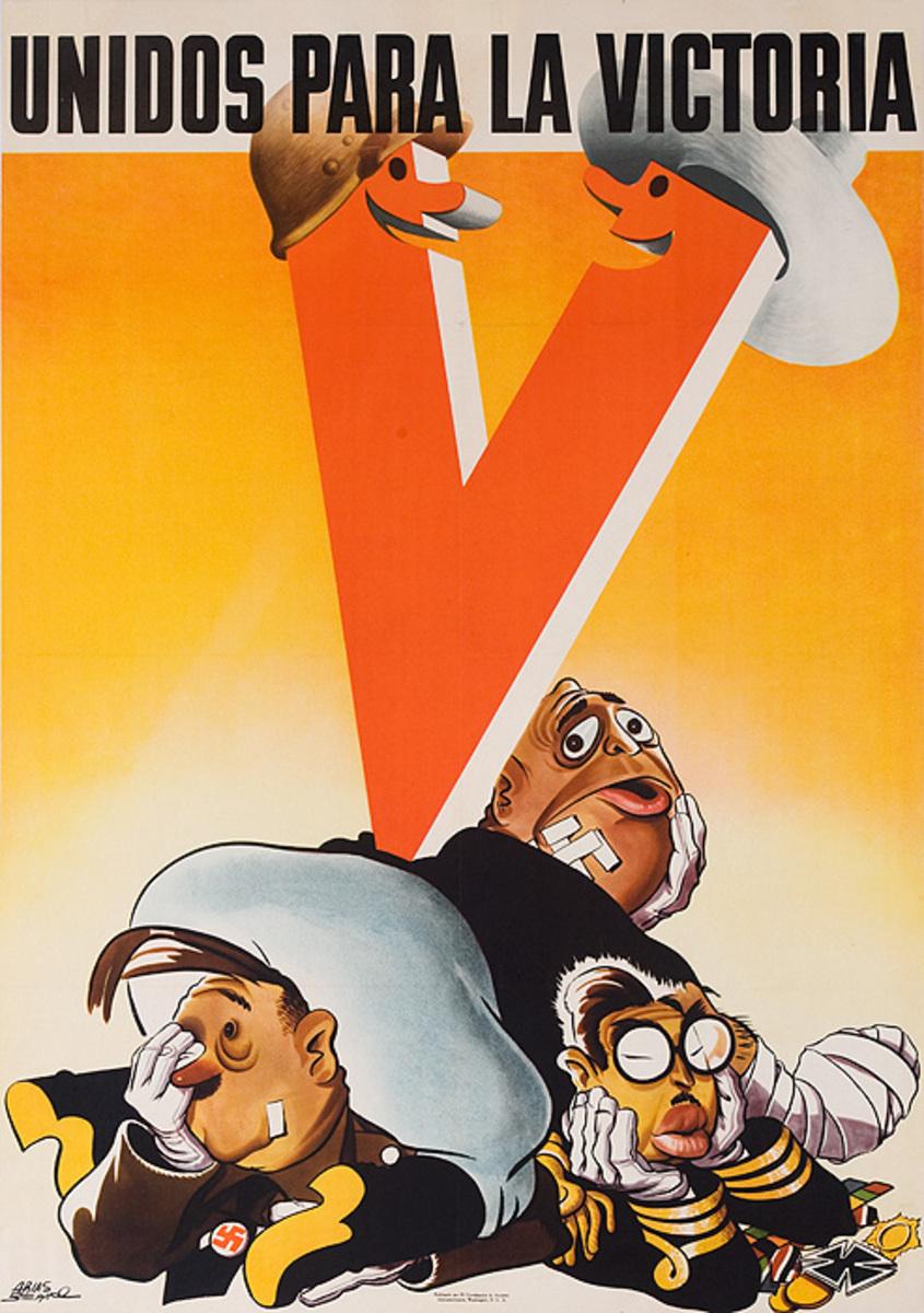 Unidos Para La Victoria Original American WWII Poster United for the Victory