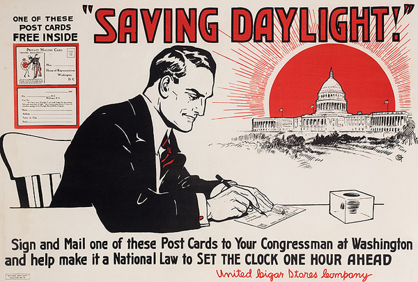 Saving Daylight Sign and Mail Original WWI Homefront Poster