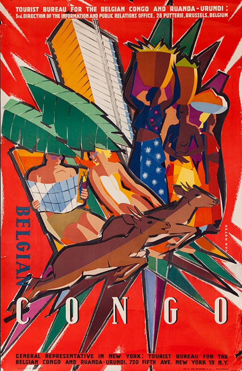 Original Belgain Congo Travel Poster icons