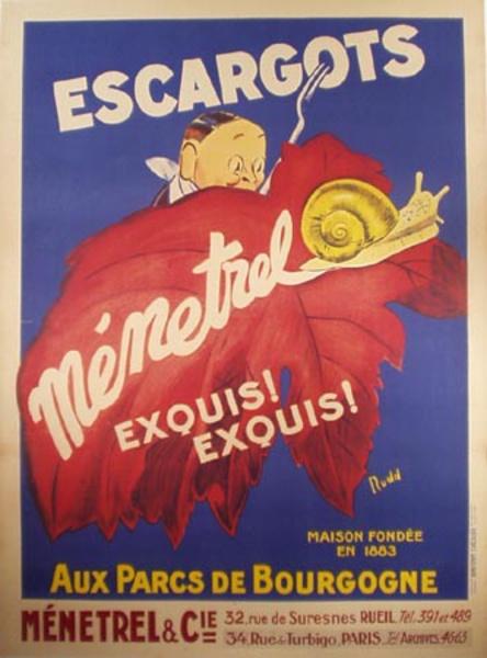 Escargots (Snails) Original Vintage Advertising Poster