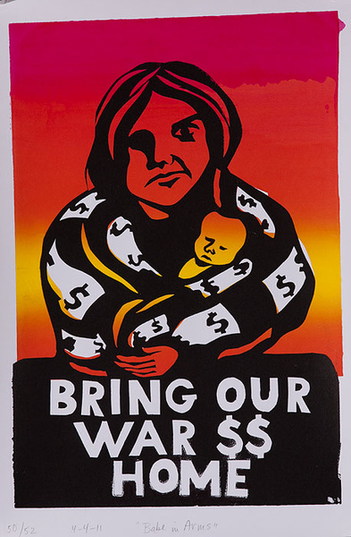 Babe in Arms Bring Our War $$ Home Original American Anti Iraq/Iran War Protest Poster