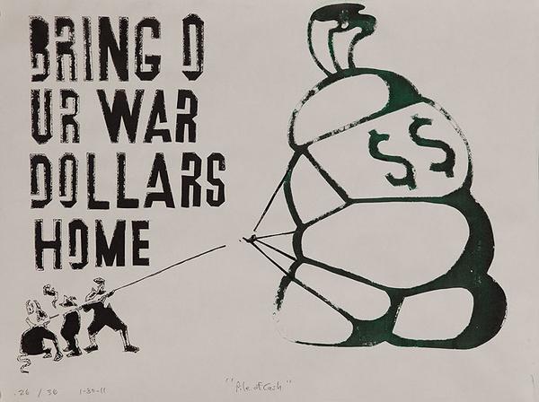 Bring Our War Dollars Home Original American Anti Iraq/Iran War Protest Poster  large sack of money