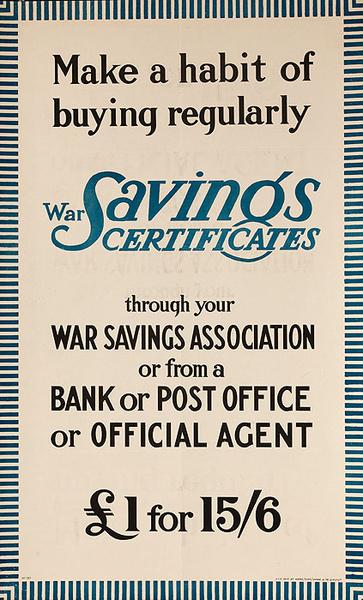 Make a Habit of Buying Savings Certificates, Original WWI Bond Poster
