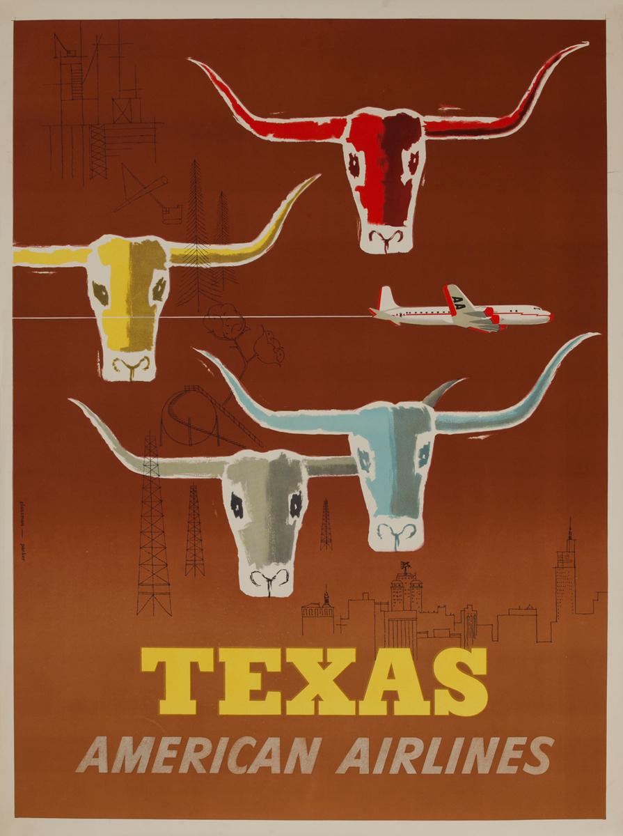 American Airlines Texas Longhorns Original Travel Poster