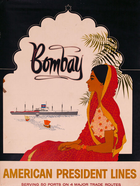 American President Lines Bombay Original Cruiseline Travel Poster