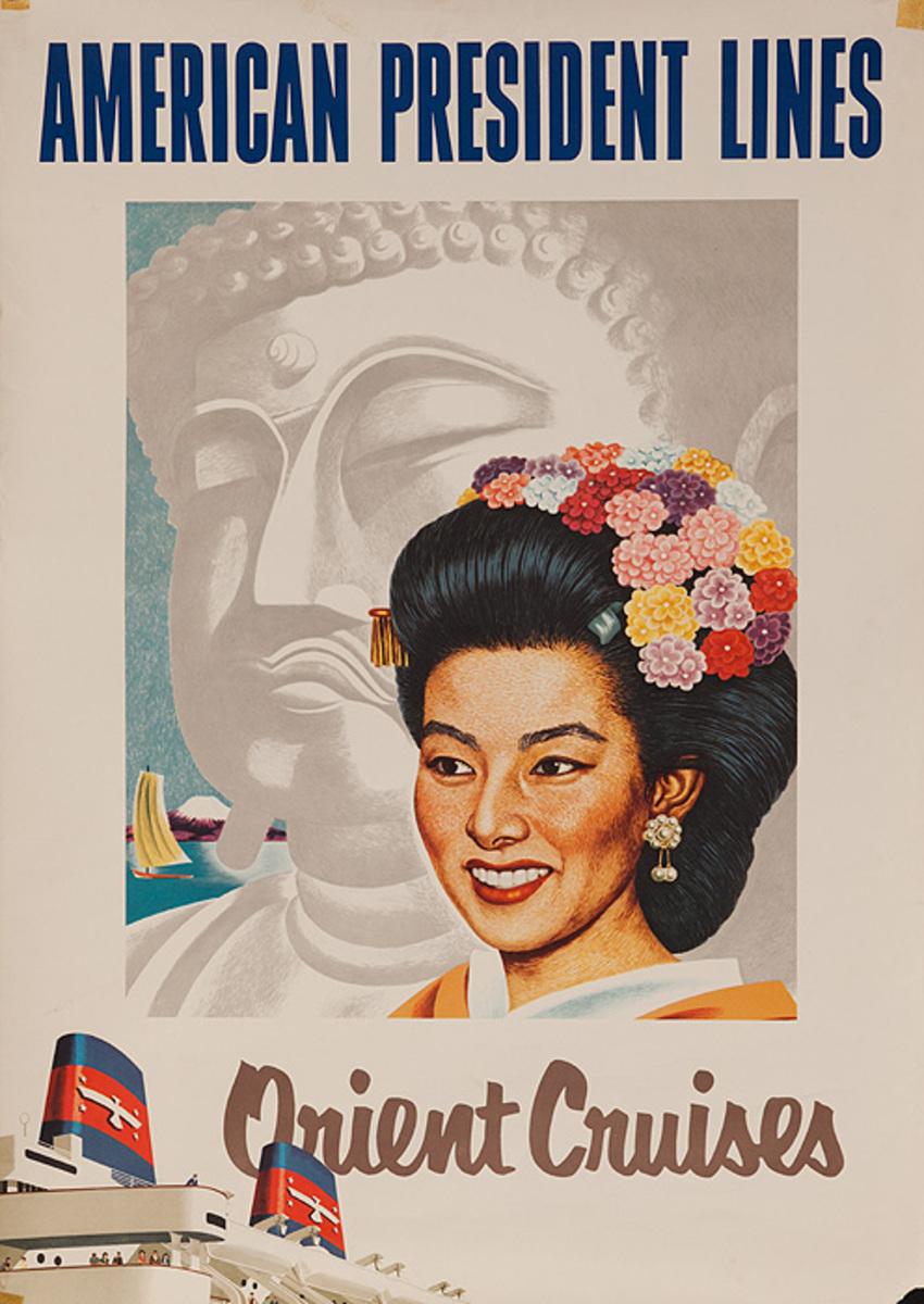 American President Lines Orient Cruise Original Travel Poster