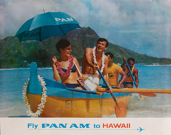 Fly Pan Am to Hawaii Original Travel Poster outrigger photo