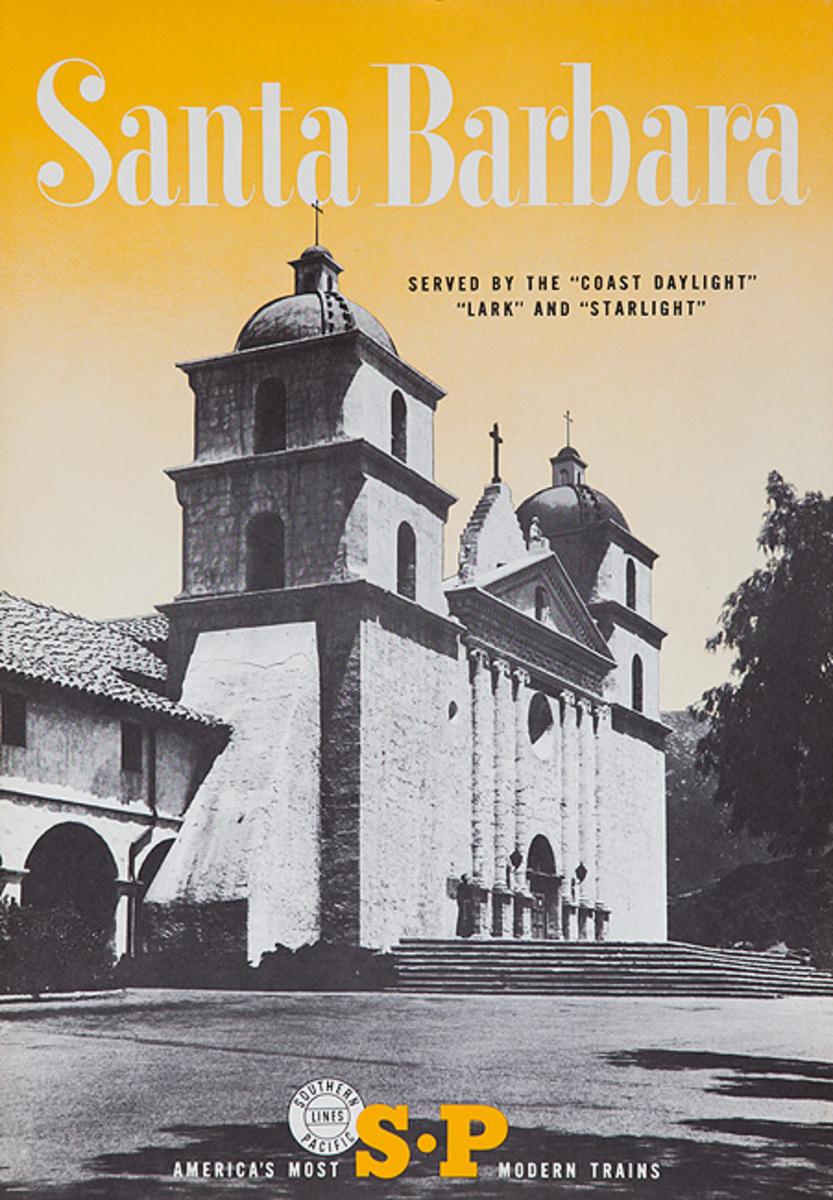 Southern Pacific Americas Most Modern Trains Santa Barbara Original Travel Poster