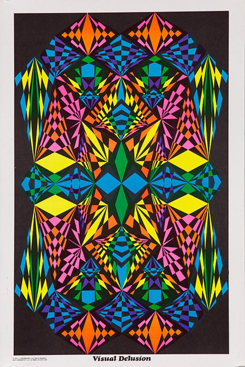 Original Psychodelic Era Flourescent Poster Visual Delusion