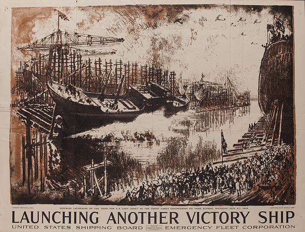 Launching Another Victory Ship Original American WWI Poster