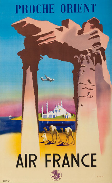 Proche Orient Original Air France Travel Poster Middle East