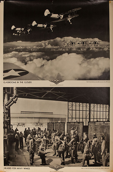 Original WWII US Navy Poster Classrooms in the Clouds
