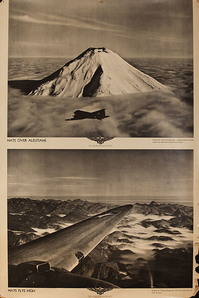Original WWII US Navy Poster NATS Over Aleutians NATS Fly High