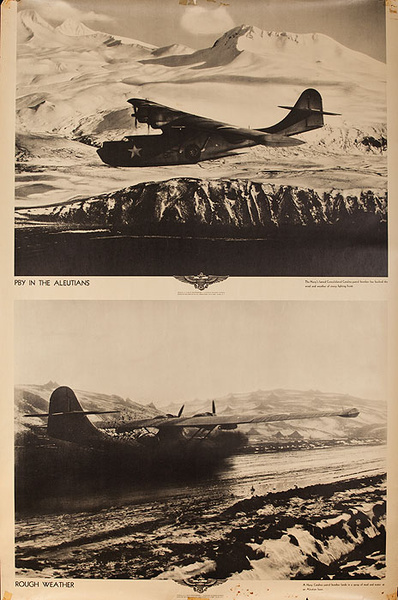 Original WWII US Navy Poster PBY in The Aleutians Rough Weather