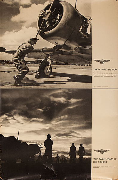 Original WWII US Navy Poster Wave Spins The Prop and The Dawn Comes up Like Thumder