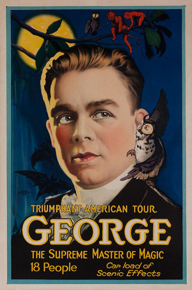 Triumphant American Tour George Original Magic Poster Moonlight Portrait