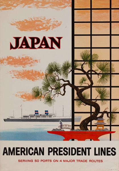 American President Lines Original Travel Poster, Japan