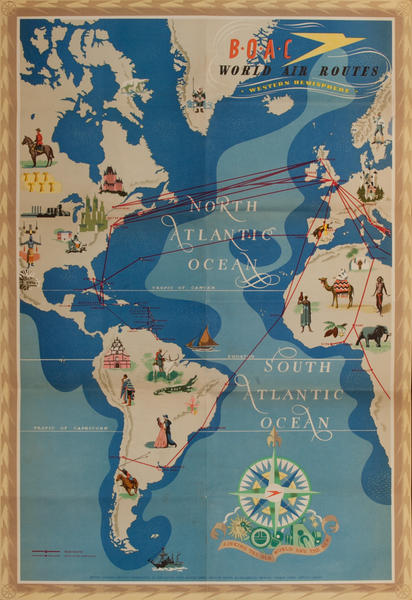 BOAC World Air Routes Original Travel Poster