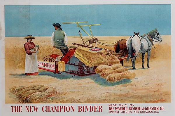 New Champion Binder Original American Farm Equipment Advertising Poster
