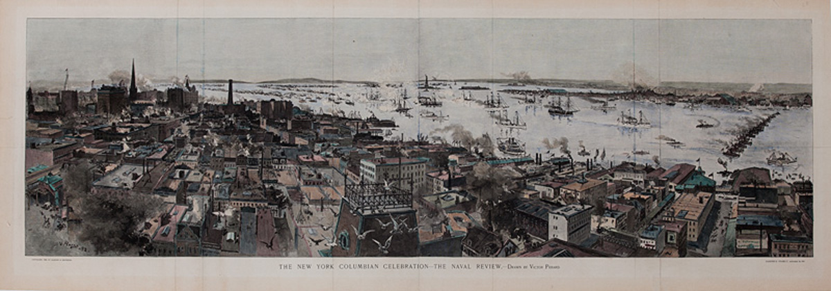 Harper's Weekly Original The New York Columbian Celebration - The Naval Review