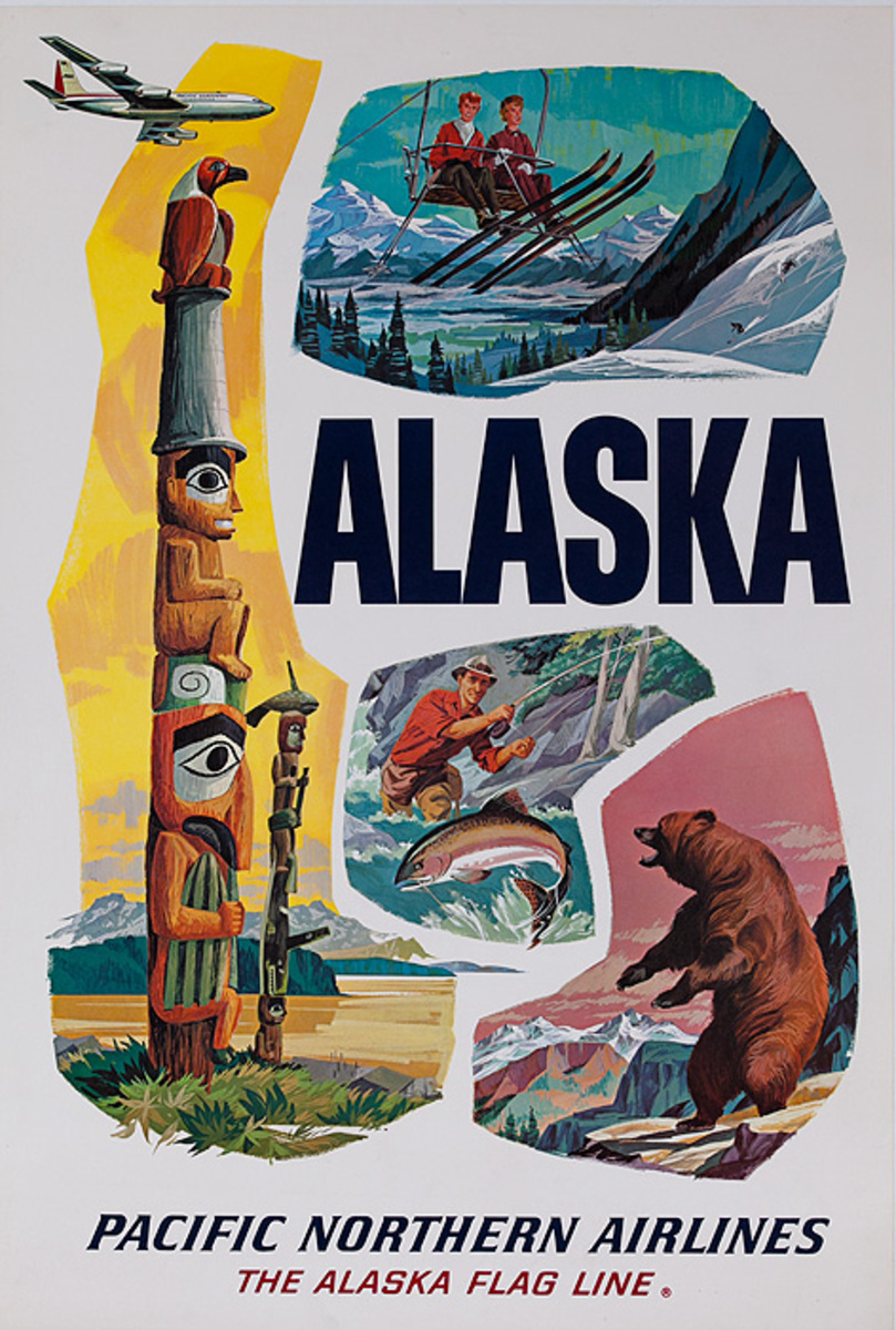 Pacific Northern Airlines Original Travel Poster Totem Pole