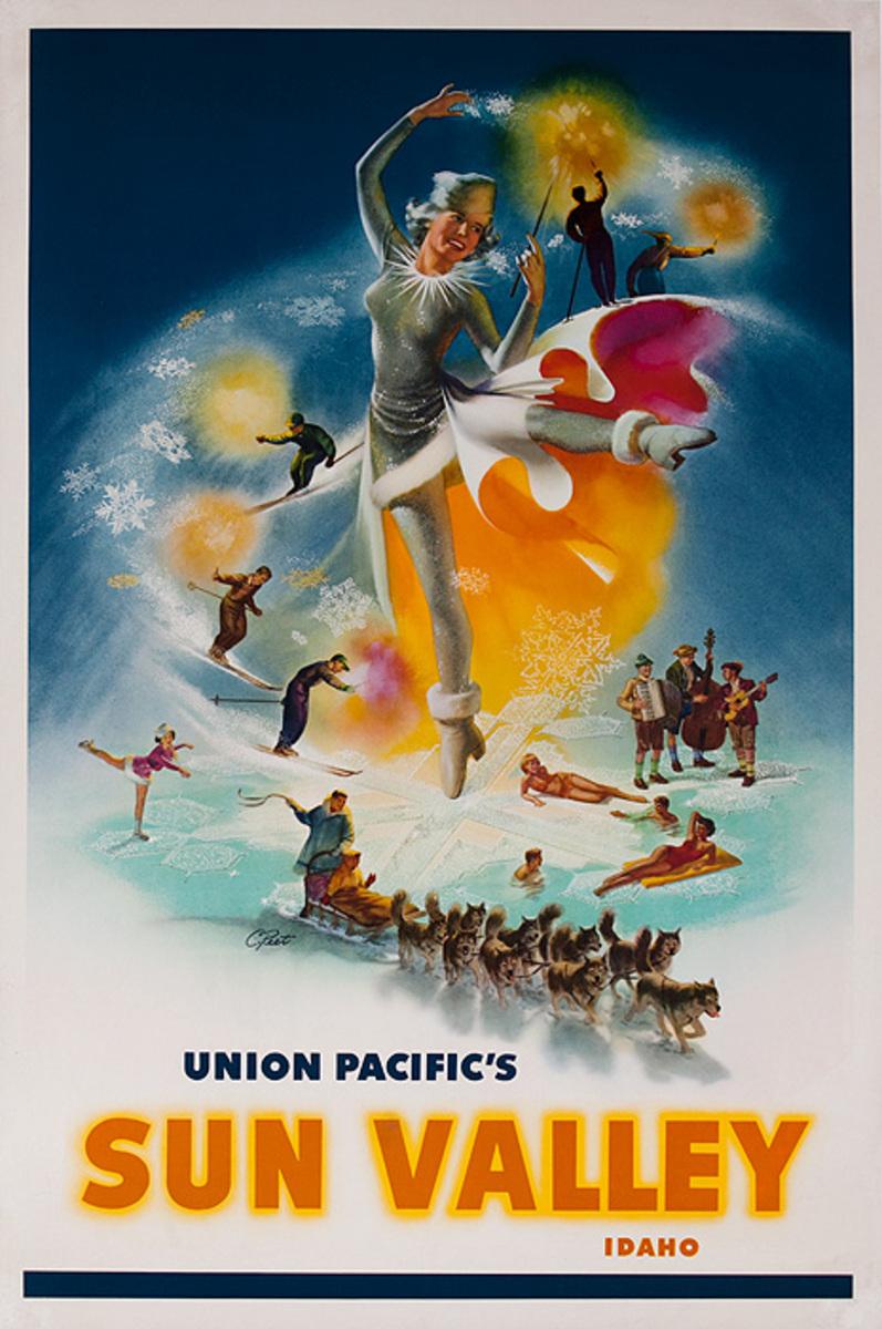 Union Pacific's Sun Valley Idaho Original Travel Poster icons