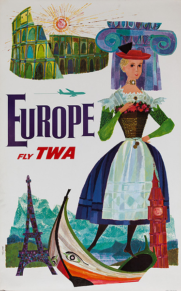 Europe Fly TWA Original Travel Poster