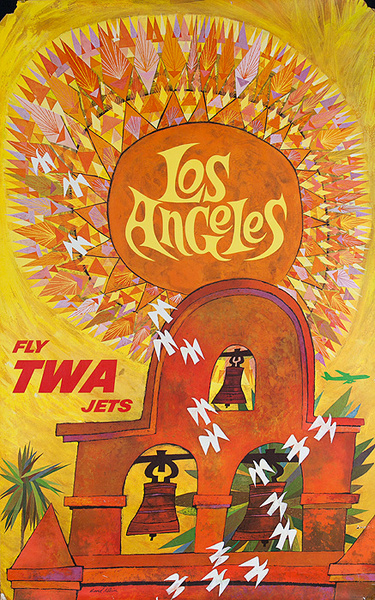 TWA Original Travel Poster Los Angeles Mission Bells