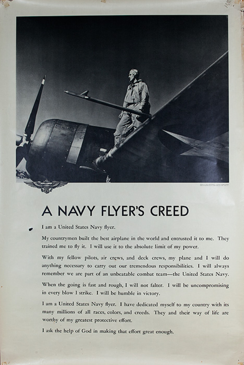 Original WWII US Navy Poster A Navy Flyer's Creed