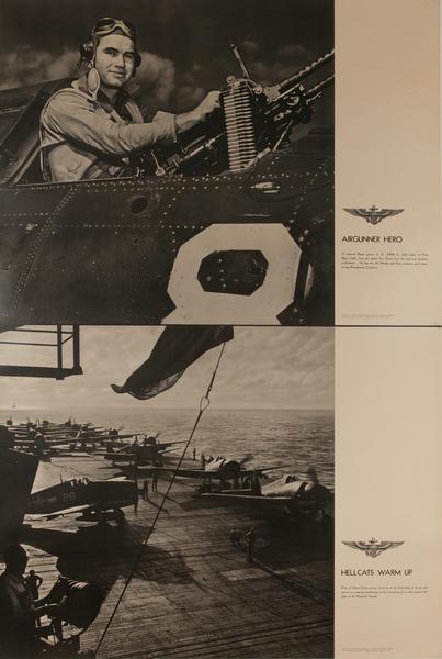 Original WWII US Navy Poster Air Gunner Hero Hellcats Warm Up