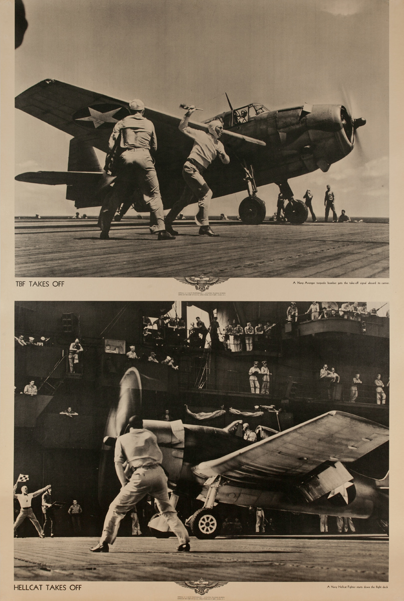 Original WWII US Navy Poster  TBF Takes Off Hellcat Takes Off