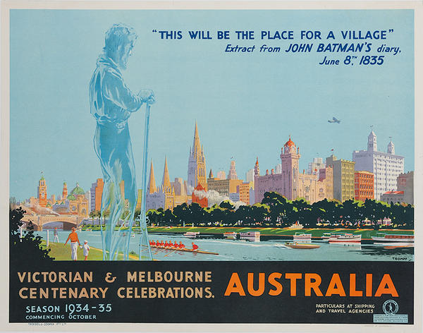 Victorian & Melbourne Centenary Celebrations. Original Australian Travel Poster
