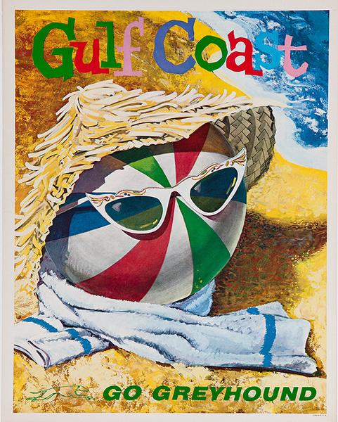 Gulf Coast Go Greyhound Original Bus Travel Poster