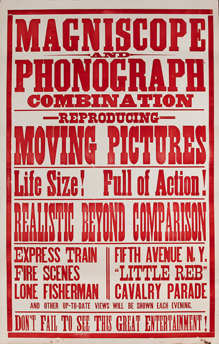 Original Early Movie Poster Moving Pictures Magniscope and Phonograph