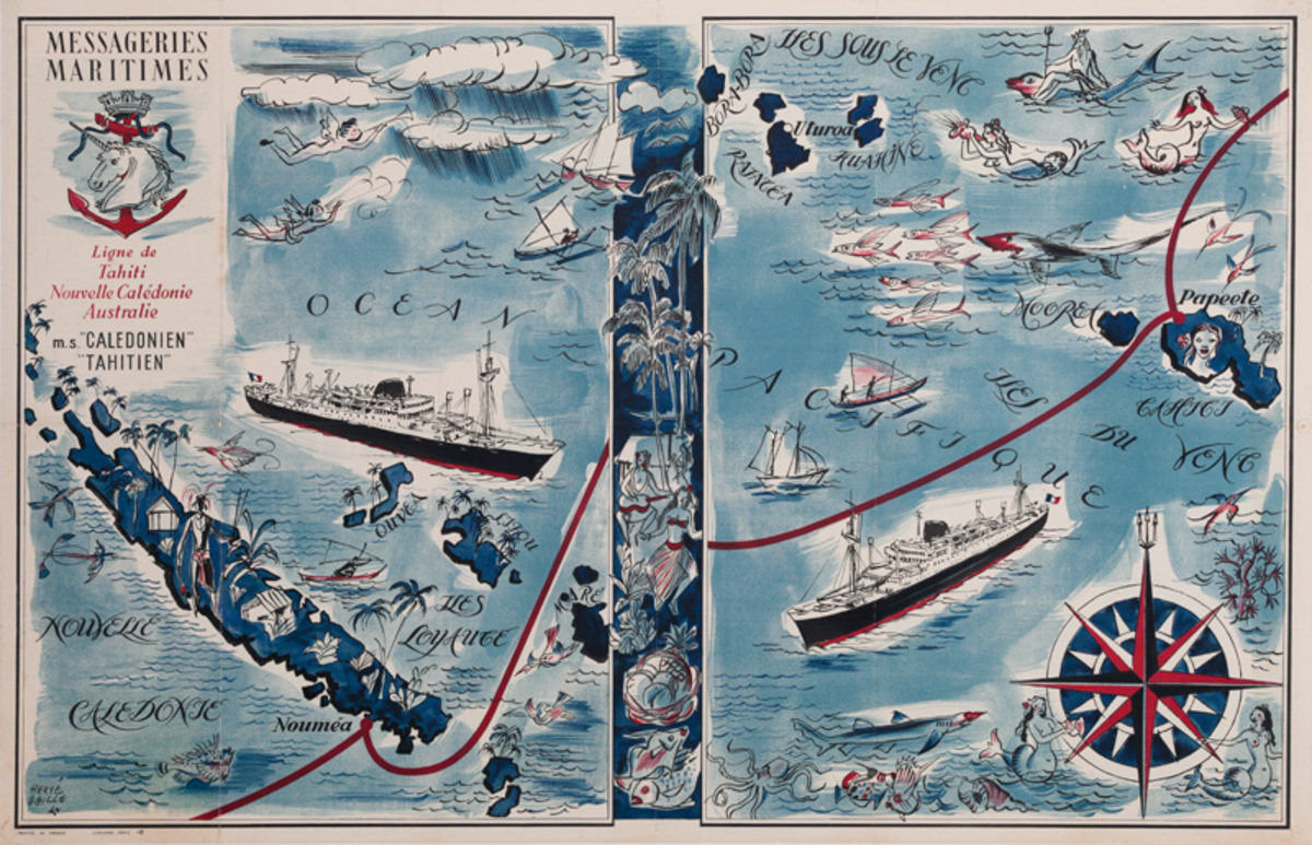 Messageries Maritimes Original French Cruise Poster MS Caledonien and Tahitien