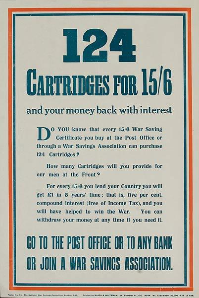 124 Cartridges for 15/16 Original British WWI War Savings Association Poster