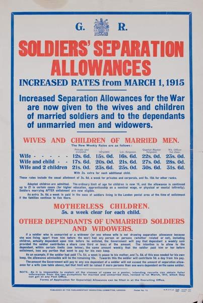 Soldiers Seperation Allowances Original British WWI Poster